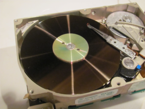 a 45 MB hard disc, the first one I owned (now sadly deceased, but backed up first)